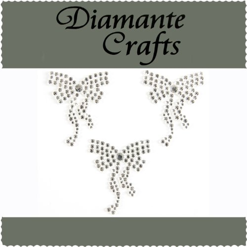 Diamante Crafts 3 x 36mm Clear Diamante Bows Self Adhesive Craft Rhinestone Embellishment Gems - created exclusively from Diamante Crafts
