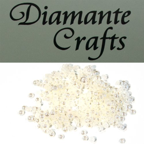Diamante Crafts 300 x 1mm Diamante Loose Round Flat Back Rhinestone Craft Gems - choose from 19 colours - created exclusively (ivory pearl) from Diamante Crafts