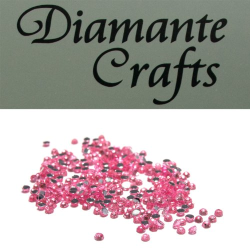 Diamante Crafts 300 x 1mm Diamante Loose Round Flat Back Rhinestone, Light Pink from Diamante Crafts