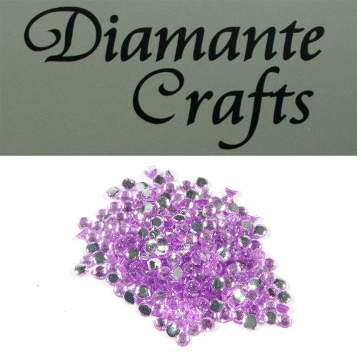 300 x 1mm Diamante Loose Round Flat Back Rhinestone Craft Gems - choose from 19 colours - created exclusively for Diamante Crafts (lilac) from Diamante Crafts