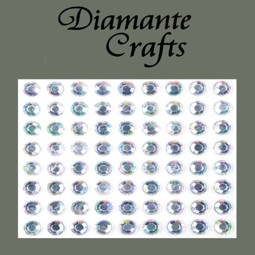 72 x 7mm Clear Iridescent AB Diamante Self Adhesive Rhinestone Body Vajazzle Gems - created exclusively for Diamante Crafts from Diamante Crafts