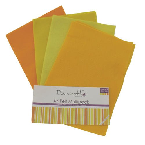 A4 Felt Sheets - Dovecraft - Pack 8 Sheets -Assorted Multipack Tonal Colours 2mm (Yellow & Orange - A4 Felt Dovecraft) from Diamante Crafts