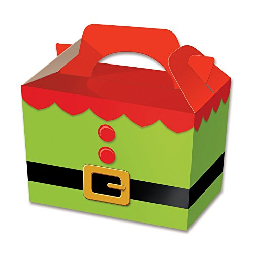 Diamante Crafts Party Boxes - Christmas Designs - Food Treat Box - Elf Tunic - Choose Quantity (1 x Elf Tunic - Party Box) from Diamante Crafts