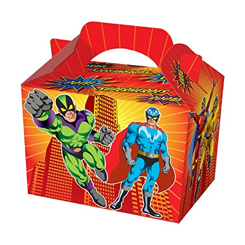 Diamante Crafts Party Boxes -Themed Character Food Loot Treat Box - 16 Designs - Choose Quantity (6 - Party Boxes, Super Hero) from Diamante Crafts