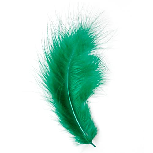 Marabou Feathers 20 Per Pack - 8-13 cm - Fluffy & Soft - 26 Colours (Emerald Green - 20 Pack) from Diamante Crafts