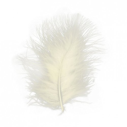 Marabou Feathers 20 Per Pack - 8-13 cm - Fluffy & Soft - 26 Colours (Ivory - 20 Pack) from Diamante Crafts