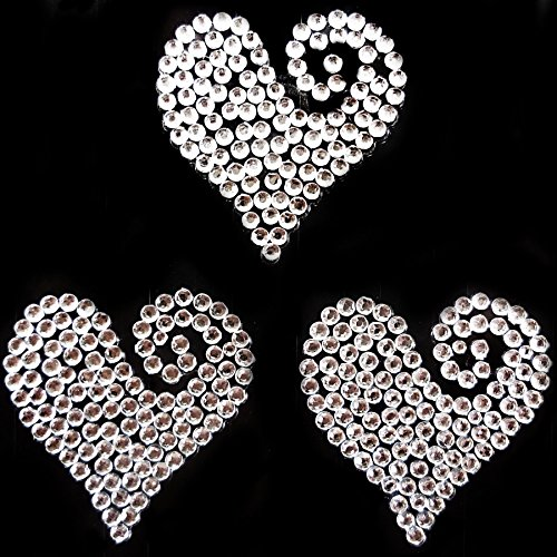 3 Clear Diamante Heart Swirls Vajazzle Rhinestone Gems - created exclusively for Diamante Crafts from Diamante Crafts