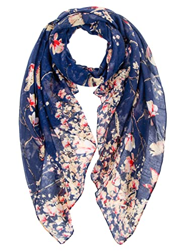 Ladies Women's Fashion Butterfly Print Long Scarves Floral Neck Scarf Shawl Wrap (Navy) from DiaryLook