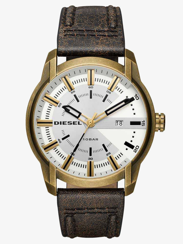 Diesel Mens Armbar Silver Dial Distressed Brown Leather Strap Watch DZ1812 from Diesel