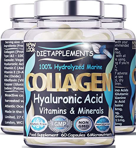 Marine Collagen Type 1&3 1000mg, Hyaluronic Acid 200mg/serving, Vit C, E, B2, Zinc, Copper, Iodine. Hydrolyzed Peptides Supplement. Skin, Nails, Hair, Bones, Joints, Metabolism, Immune, Nervous System from Dietapplements