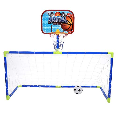 Dilwe Basketball and Soccer Sports Goal Sets, Portable Collapsible Kids Soccer Goal Basketball Kit with Football Basketball Pump for Kids Toy Gift Playing Fun from Dilwe