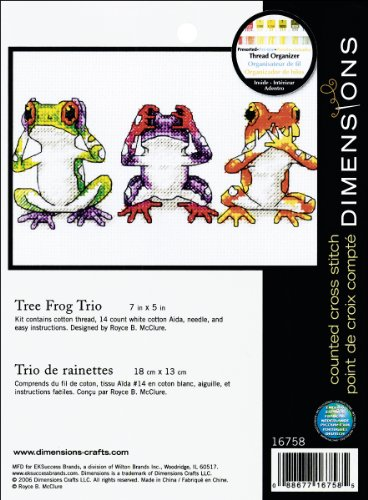 "Dimensions Jiffy Treefrog Trio Mini Counted Cross Stitch Kit-7""X5"" 14 Count from Dimensions"