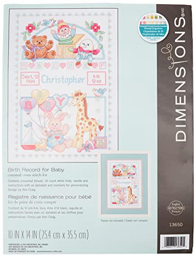Dimensions 13650 Counted Cross Stitch Kit, Baby Birth Record from Dimensions