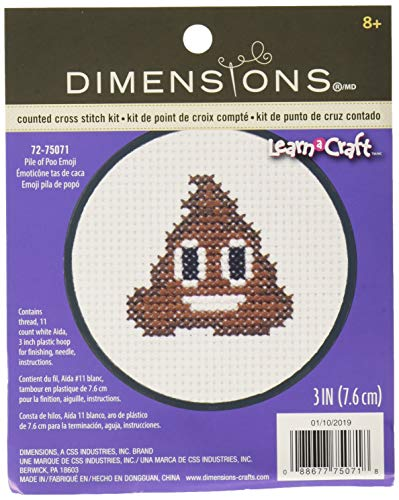 DIMENSIONS Counted Cross Stitch Kit with Hoop: Pile of Poo Emoji, Brown, 10cm from Dimensions