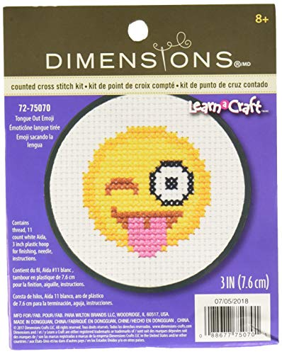 DIMENSIONS Counted Cross Stitch Kit with Hoop: Tongue Out Emoji, 10cm from Dimensions