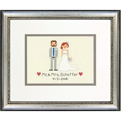 DIMENSIONS Counted Mini: Wedding Record Bride and Groom, Aida, Ivory, 11.6 x 8.5 x 0.7 cm from DIMENSIONS