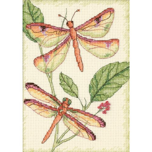 DIMENSIONS Dragonfly Duo, 14 Count Ivory Cotton Aida Fabric from DIMENSIONS