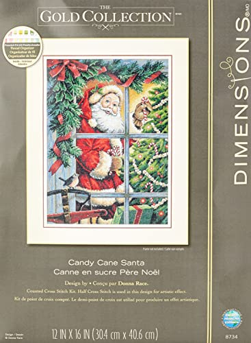 Dimensions 8734 Gold: Counted Cross Stitch: Candy Cane Santa from Dimensions