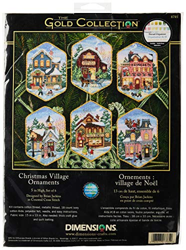 "Dimensions Christmas Village, Metal, 5"" Long 18 Count Set of 6 from Dimensions"