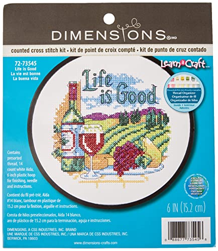 DIMENSIONS Life is Good Learn-a-Craft Counted Cross Stitch Kit, Polyester blend, Multi-Colour from DIMENSIONS