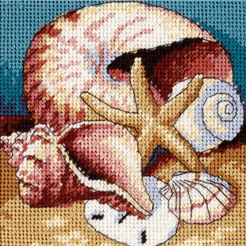 "DIMENSIONS Shell Collage, 5""x5"" Stitched in Floss from DIMENSIONS"