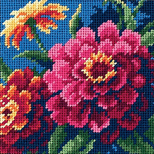 DIMENSIONS Mini Needlepoint: Zinnias, Polyester blend, Multicoloured, 13 x 13 x 0.2 cm from DIMENSIONS