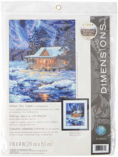 DIMENSIONS 71-20072 Winter Sky Cabin Blue from DIMENSIONS