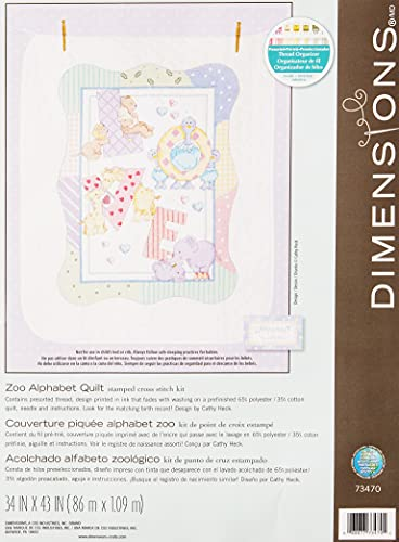 "Dimensions ""Zoo Alphabet Stamped Cross Stitch Quilt, Multi-Colour from Dimensions"