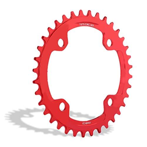 Bike Chainring, 32/34/36/38T BCD 104 Mountain Bike Single Speed Chainring Suitable for Most Bicycle Road Bike Mountain Bike (32T-Red) from Dioche