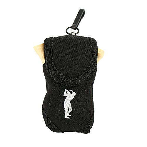 Dioche Golf Ball Pouch, Portable Golf Ball Holder Hold 2 Balls and 4 Golf Tee(Black) from Dioche