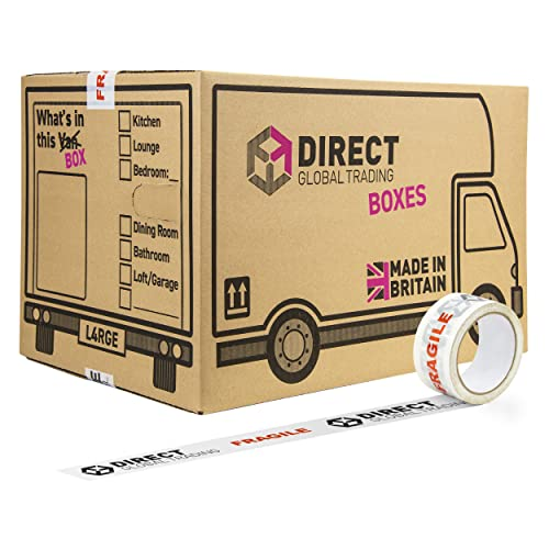 20 Strong Cardboard Storage Packing Moving House Boxes Double Walled with Fragile Tape and Black Marker Pen and 10 Fragile Stickers 47cm x 31.5cm x 30cm 44 Litres from Direct Global Trading