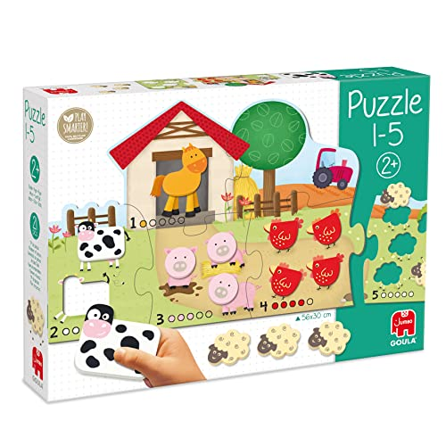Goula Puzzle 1 - 5 - 6 Piece Puzzle with 15 Wooden Animal Shapes from Jumbo