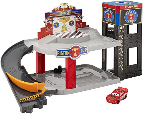 Disney Pixar Cars Piston Cup Racing Garage, Toy Car Playset with Lightning McQueen Toy Car from Disney