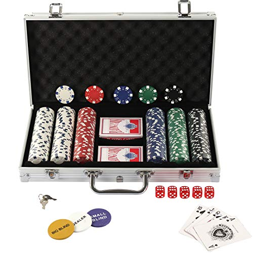 Display4top 300 Piece Texas Holdem Poker Chips Set with Aluminum Case ,2 Decks of Cards, Dealer, Small Blind, Big Blind Buttons and 5 Dice from Display4top