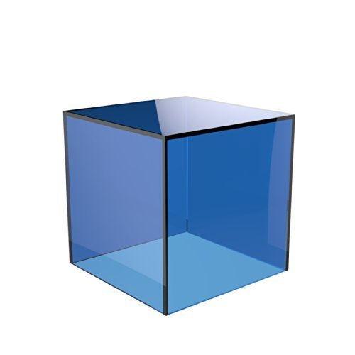 Acrylic Cube Display Stand Square 5 Sided Box Perspex Tray Retail Shop Holder (200mm x 200mm x 200mm, Light Blue) from Displaypro