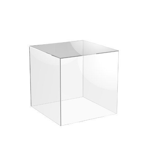 Acrylic Cube Display Stand Square 5 Sided Box Perspex Tray Retail Shop Holder (300mm x 300mm x 300mm, Clear) from Displaypro