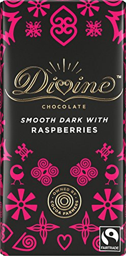 Divine Fairtrade Dark Chocolate - 70% Cocoa Raspberry (100g) - Pack of 2 from Divine