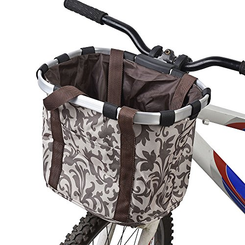 Docooler Ladies bicycle bag/bicycle basket, material: aluminium alloy and Oxford cloth size: E 34 x 28 x 25 cm., coffee from Docooler