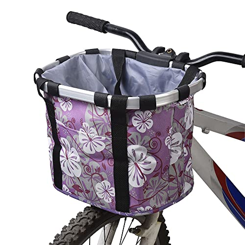 Docooler Ladies bicycle bag/bicycle basket, material: aluminium alloy and Oxford cloth size: E 34 x 28 x 25 cm., purple from Docooler