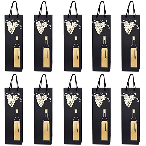 10 Gift Bags Bottle Bags for Wine Prosecco and Champagne 15.75 x 4.72 x 3.54 inch - 40 x 12 x 9 cm - Bottle and Vine from DonDon