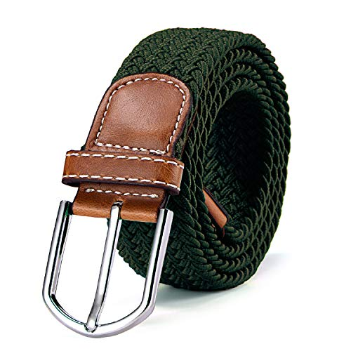 Braided stretch belt elastic for women and men length 39 to 51 inch - 100 cm to 130 cm green from DonDon