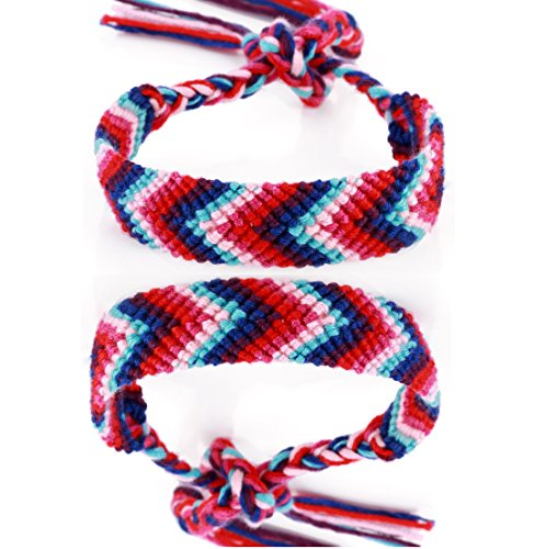 DonDon 2 Unisex Friendship Bands Bracelets Braided Multi-Coloured Blue Red from DonDon