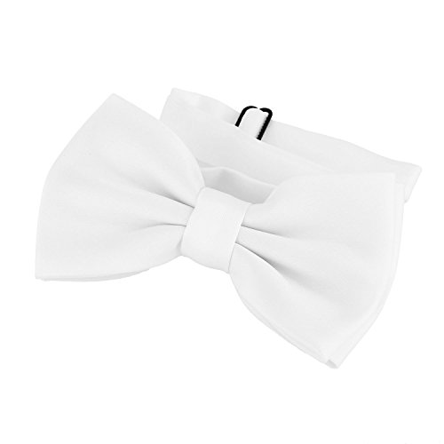 DonDon Bow Tie White pre-tied Bow - adjustable(Size: One size) from DonDon