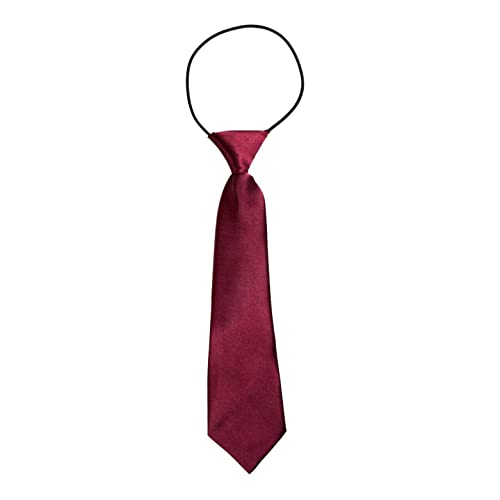 DonDon Children Boys Tie with Elastic Band Silk Look One Size Fits All Dark Red Bordeaux from DonDon