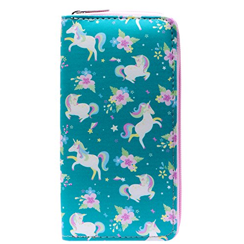 DonDon Ladies and Girls Purse Wallet with Zip Fastener Unicorns and Flowers from DonDon
