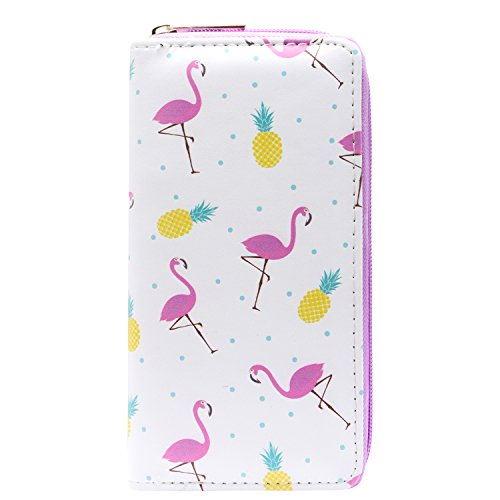 DonDon Ladies and Girls Purse Wallet with Zip Fastener Flamingos and Pineapple from DonDon