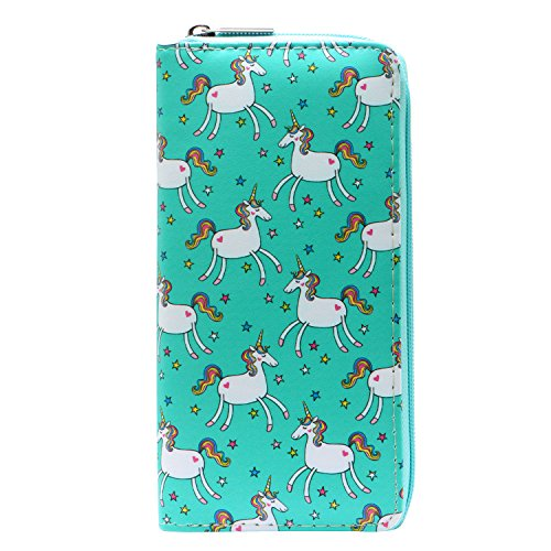 DonDon Ladies and Girls Purse Wallet with Zip Fastener Unicorns and Stars from DonDon