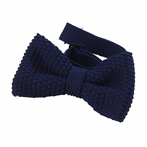 DonDon Men Knit Knitted Bow Tie Pre Tied and Adjustable Blue from DonDon