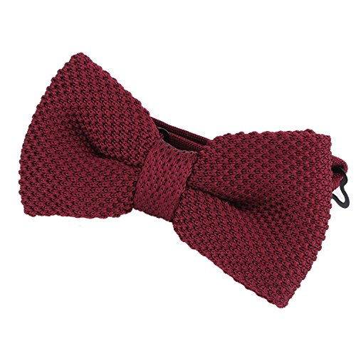 DonDon Men Knit Knitted Bow Tie Pre Tied and Adjustable Dark Red from DonDon