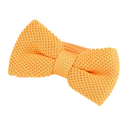 DonDon Men Knit Knitted Bow Tie Pre Tied and Adjustable Light Yellow from DonDon